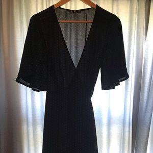 Lulus Midi length black wrap dress